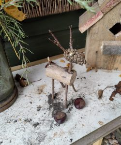 A woodwork project at Henley allotment, a reindeer ornament