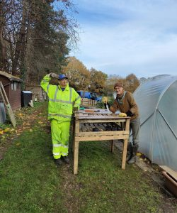 Ben and Owen at our Henley Allotment