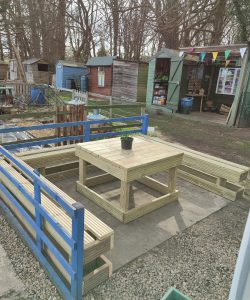 A woodwork project at Henley allotment, a table and benches